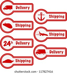 Free delivery and free shipping pointer, label and stamp. Vector