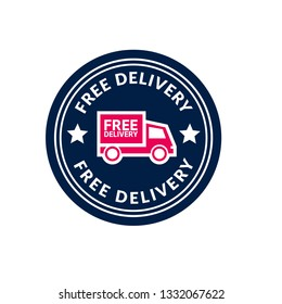 free delivery sticker,label,emblem. designed for promotional campaign or business marketing material.