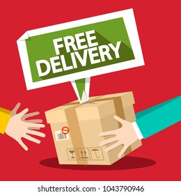 Free Delivery Symbol with Parcel and Hands. Vector Flat Design Illustration.