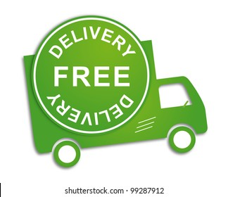 Free delivery truck in green for transportation business