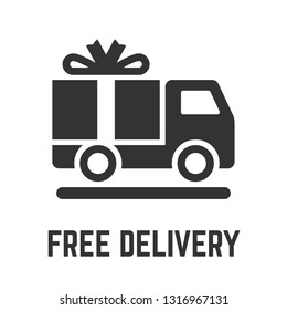 Free delivery truck icon with cargo freight lorry vehicle and gratis gift box glyph symbol.