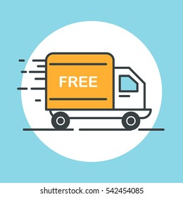 Free delivery truck icon. Flat design vector illustration.