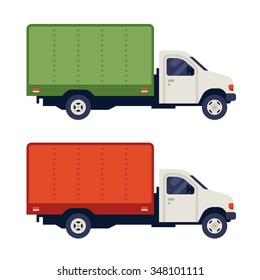 Free delivery truck. Side view. Vector flat illustration isolated on white background