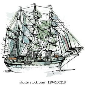Free digital vector drawing. Picture shows a old sailing ship in ink style.