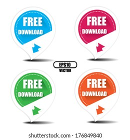 Free Download with arrow colorful icons, stickers and labels set - Vector illustration. EPS10