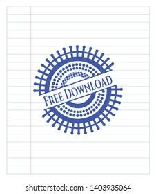 Free Download emblem with pen effect. Blue ink. Vector Illustration. Detailed.