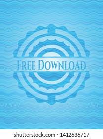 Free Download light blue water badge. Vector Illustration. Detailed.