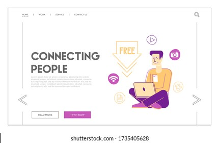Free Download, Torrent Data Piracy from Servers Landing Page Template. Young Man Computer User Downloading, Transfer and Sharing Files in Internet Gratis, Information Tech. Linear Vector Illustration
