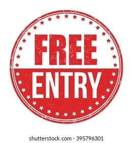 Free entry grunge rubber stamp on white background, vector illustration