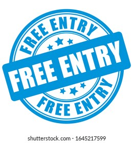 Free entry sign on white background