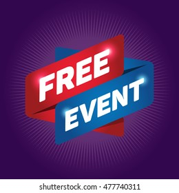 FREE EVENT arrow tag sign.