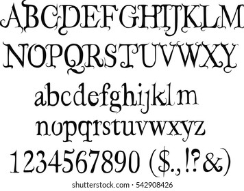 Free fairy font - Alphabet, Numbers, Symbols - Vector
