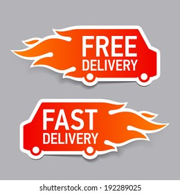 Free and fast delivery labels. Vector.