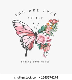 free to fly slogan with colorful flowers in butterfly half shape illustration