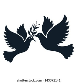A free flying vector white dove symbol.