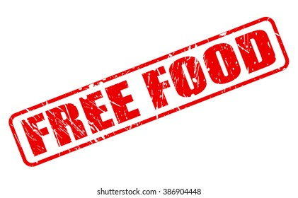 FREE FOOD RED STAMP TEXT ON WHITE