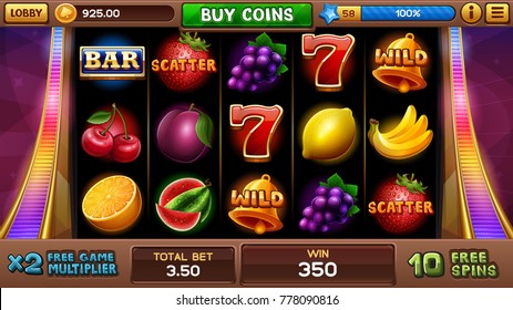 Free games screen for slots game. Vector illustration