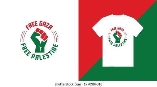 Free gaza free palestine typography t-shirt design premium tamplate