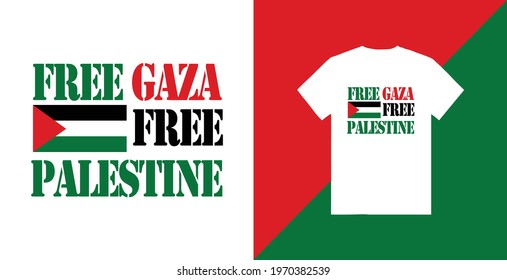 Free gaza free plasetine typography t-shirt design premium tamplate