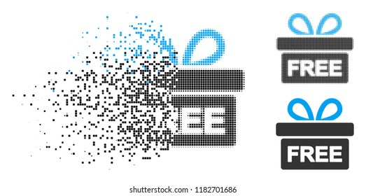 Free gift icon in fractured, pixelated halftone and entire variants. Cells are organized into vector dissolving free gift icon. Disappearing effect uses rectangular scintillas.