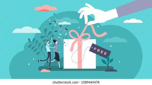 Free gift marketing lead magnet strategy flat tiny person vector concept illustration. Happy customer loyalty building relationships and driving engagement.Digital sales plan and growing follower list