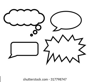 Free hand draw of balloons text, Thinking, Speaking, Shouting and Whispering