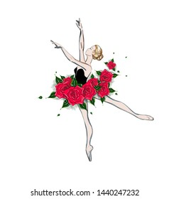 Free Hand Drawing of a Ballerina. Vector Illustration of a Ballet Dancer Girl. Freehand Drawing. Vector Sketch. Classical Dance. Ballet Costume Design. Sketched Tutu Dress. Fantasy Dress of Red Roses