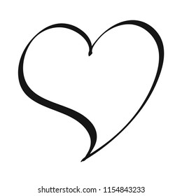 Free Hand Drawn of Heart Vector on Isolated White Background