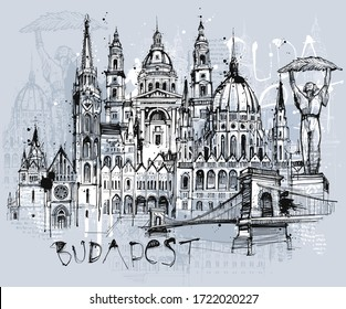 Free hand drawn sketch of budapest sights
