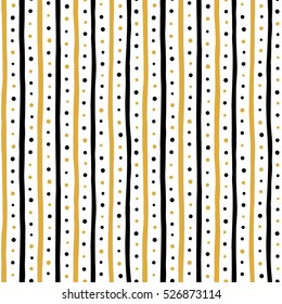 Free hand drawn stripes and dots vector seamless pattern. Uneven black and yellow, gold bars and round spots on white background. Abstract streaks and dots texture.