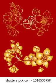Free hand Sakura flower vector set, Beautiful line art Peach blossom isolate on white background.Branch of cherry blossom for printing on wallpapers and sticker.Japanese flower.Golden line art.