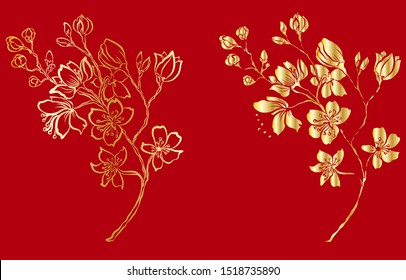 Free hand Sakura flower vector set, Beautiful line art Peach blossom isolate on white background.Golden Cherry blossom on red background for printing on wallpaper.