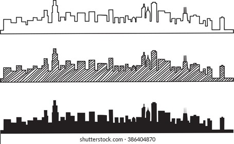 Free hand sketch of Chicago skyline. Vector illustration eps 10.