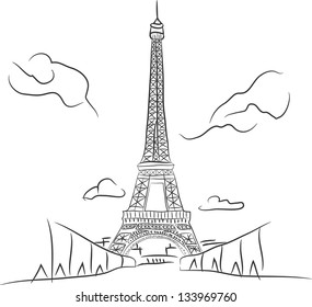 Free hand sketch collection:  Eiffel tower in Paris, France