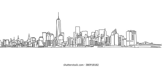 Free hand sketch of New York City skyline. Vector Outline Scribble