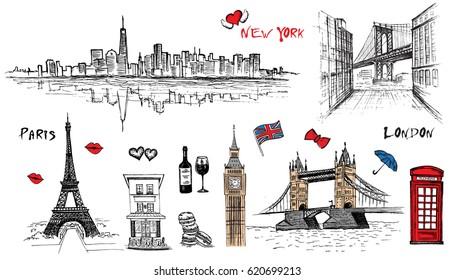 Free hand sketch of New York City, London, Paris