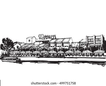 Free hand sketch vector panoramic singapore city sketch  Freehand Drawing