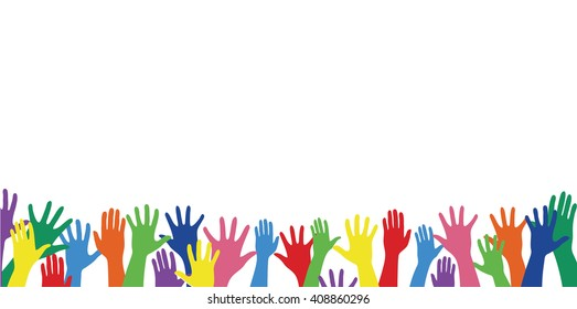 free hands up fun background art vector