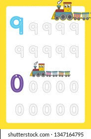 Free handwriting pages for writing numbers Learning numbers, Numbers tracing worksheet for kindergarten vector with train cartoon train clipart
