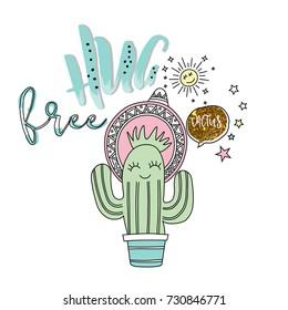 free hug slogan with cute cactus, hand drawn style . vector illustration