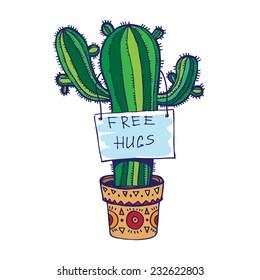 Free hugs. Vector illustration.
