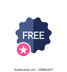 Free icon with star sign. Free sticker, badge, tag icon and best, favorite, rating symbol