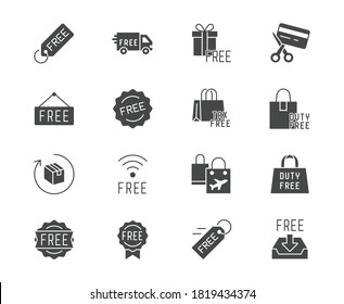 Free label black silhouette icons. Vector illustration included icon as gratis delivery truck, shipping, wifi, download, duty free glyph pictogram of freebies.