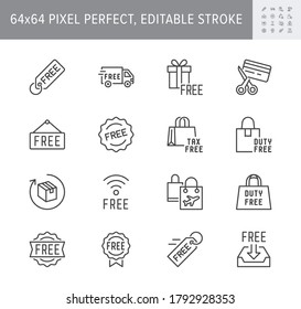 Free label line icons. Vector illustration included icon as gratis delivery truck, shipping, wifi, download, duty free outline pictogram of freebies. 64x64 Pixel Perfect Editable Stroke.
