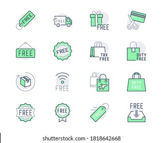 Free label line icons. Vector illustration included icon as gratis delivery truck, shipping, wifi, download, duty free outline pictogram of freebies. Green Color, Editable Stroke.