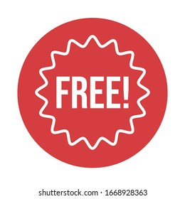 Free label. Red badge sticker design. Promotion and advertising. Vector illustration.