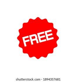 Free label. Red badge sticker design. Vector illustration. EPS10