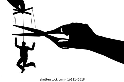 Free from manipulation. Puppet. Human manipulation. Exemption from slavery. Silhouette vector illustration