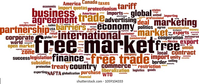 Free market word cloud concept. Vector illustration