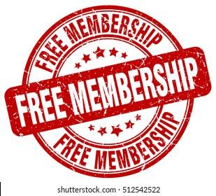 free membership stamp.  red round free membership grunge vintage stamp. free membership
